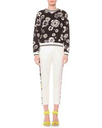 MSGM - White Slim Suit Pants With Embroidered Sides - Lyst