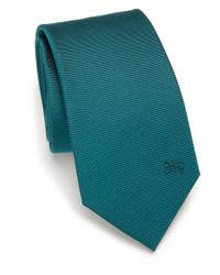 Burberry - Blue Solid Silk Tie for Men - Lyst