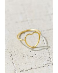 Urban Outfitters - Metallic 18k + Sterling Silver Delicate Open Heart Ring - Lyst