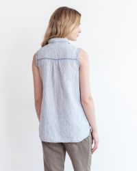 Marrakech | Blue Elizabeth Linen Top - Stripe | Lyst