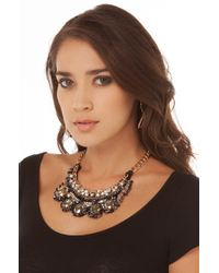 AKIRA - Black Chain & Bead Fringe Necklace W/ Earring Set - Lyst