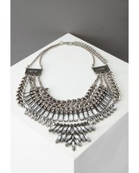 Forever 21 | Metallic Layered Chain Rhinestone Necklace | Lyst
