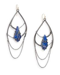 Alexis Bittar | Metallic Miss Havisham Kinetic Gun Lapis & Crystal Draped Chain Drop Earrings | Lyst
