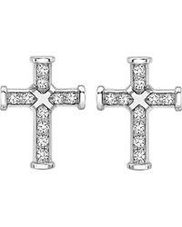 Theo Fennell | Metallic 18ct White-gold And Diamond Cross Iconette Earrings | Lyst