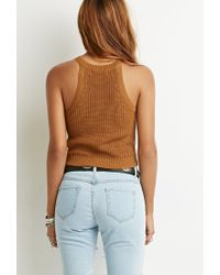 Forever 21 - Brown Ribbed Halter Top - Lyst