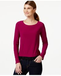 Cece by Cynthia Steffe | Purple Scoop-neck Lace-hem Top | Lyst