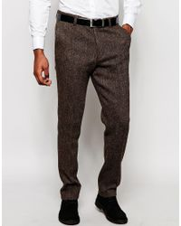 ASOS - Brown Slim Smart Trousers In Harris Tweed for Men - Lyst