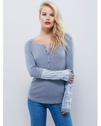 Free People | Blue Womens Washed Cuff Henley | Lyst