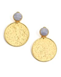 Nest | Metallic Blue Lace Agate Hammered Drop Earrings | Lyst