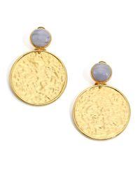 Nest - Metallic Blue Lace Agate Hammered Drop Earrings - Lyst
