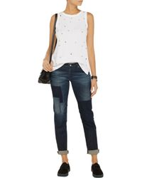 Current/Elliott - White The Muscle Star-Print Jersey Tank - Lyst