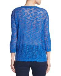 Kensie | Blue Slub-knit Lace-yoke Sweater | Lyst