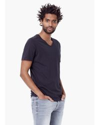 Mango - Black V-neck Cotton T-shirt for Men - Lyst