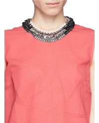 Venna | Black Crystal Spike Pearl Necklace | Lyst