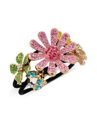 Betsey Johnson | Pink Pave Flower Hinged Bangle Bracelet | Lyst