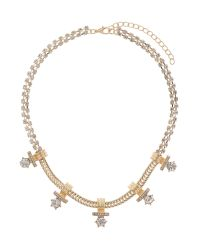 Mikey | Metallic Crystal Chain Inca Design Necklace | Lyst