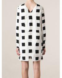 KENZO - White 'Squares' Shift Dress - Lyst
