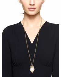 kate spade new york - Metallic Into The Woods Owl Pendant - Lyst