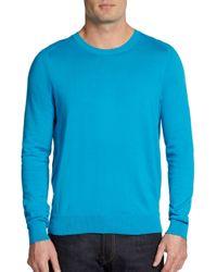 Vince - Blue Cotton Crewneck Sweater for Men - Lyst