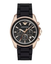 Emporio Armani - Black Rose Goldtone-finished Stainless Steel Chronograph Rubber Strap Watch for Men - Lyst