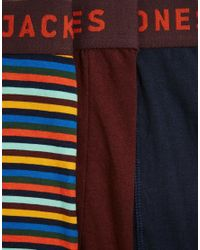 Jack & Jones - Multicolor 3 Pack Trunks With Stripe for Men - Lyst