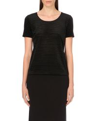 Armani | Black Striped Velvet Top | Lyst