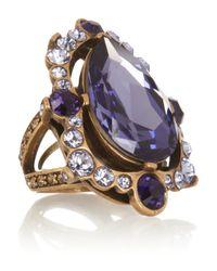 Oscar de la Renta - Purple Goldplated Crystal Ring - Lyst