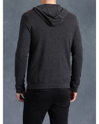John Varvatos - Black Cotton Zip Front Hoodie for Men - Lyst