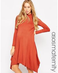 ASOS | Orange Swing Dress With Hanky Hem | Lyst