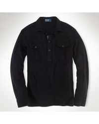 Polo Ralph Lauren | Black Slub Jersey Popover Shirt for Men | Lyst