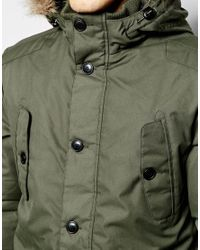 Jack & Jones | Green Parka With Faux Fur Hood for Men | Lyst