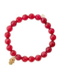 Sydney Evan | Red Agate Beaded Bracelet With 14K Gold Hamsa Charm (Made To Order) | Lyst