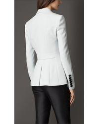 Burberry | Blue Slim Fit Satin-Back Crepe Jacket | Lyst