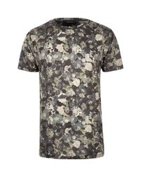 River Island - Gray Grey Camo Floral Print T-shirt for Men - Lyst
