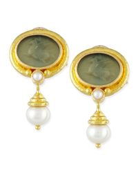 Elizabeth Locke | Green Pegasus Intaglio Clip/post Earrings With Pearl Drop | Lyst