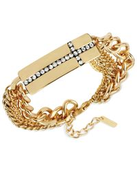 Steve Madden - Metallic Gold-Tone Pavè Cross Bar Multi-Chain Bracelet - Lyst
