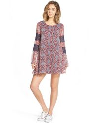 Volcom | Red Print Lace Detail Shift Dress | Lyst