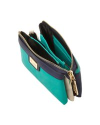Dune | Blue Keira Colour Block Triple Pouch Bag | Lyst