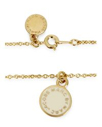 Marc By Marc Jacobs - Metallic Cream Logo Disc Necklace - Lyst