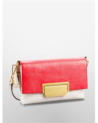 Calvin Klein | Red White Label Kelsey Pebble Leather Colorblock City Flap Shoulder Bag | Lyst
