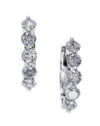 Effy | Metallic Diamond And 14k White Gold Hoop Earrings, 1.47 Tcw | Lyst