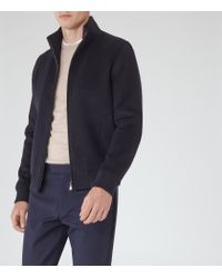 Reiss - Blue Sonata Funnel Neck Bomber Jacket for Men - Lyst