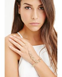 Forever 21 | Metallic Floral Faux Pearl Hand Chain | Lyst