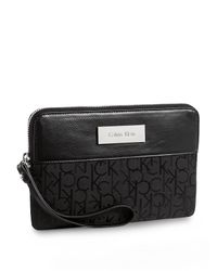Calvin Klein | Black White Label Logo Jacquard Katy Clutch | Lyst