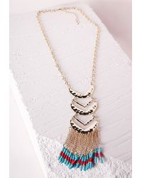 Missguided - Multicolor Beaded Tier Necklace Multi - Lyst