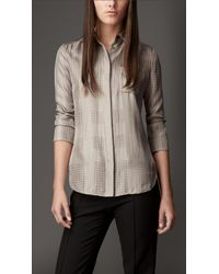 131295b4e9fd0e Lyst - Burberry Polka Dot Check Silk Shirt in Gray