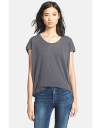 Splendid | Gray Scoop Neck Short Sleeve Top | Lyst