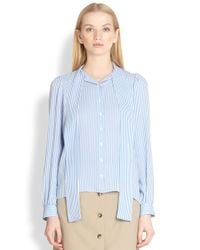 Michael Kors | Blue Silk Stripe Scarfneck Blouse | Lyst