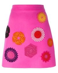 MSGM - Pink Embroidered Mini Skirt - Lyst