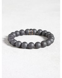 John Varvatos | Gray Hematite Beaded Bracelet With Sapphire Detail for Men | Lyst